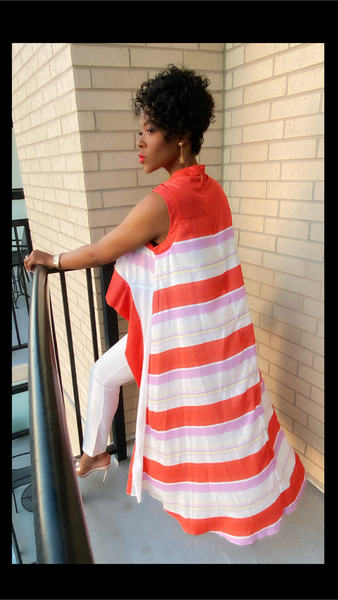Harmony High Low Striped Red Top