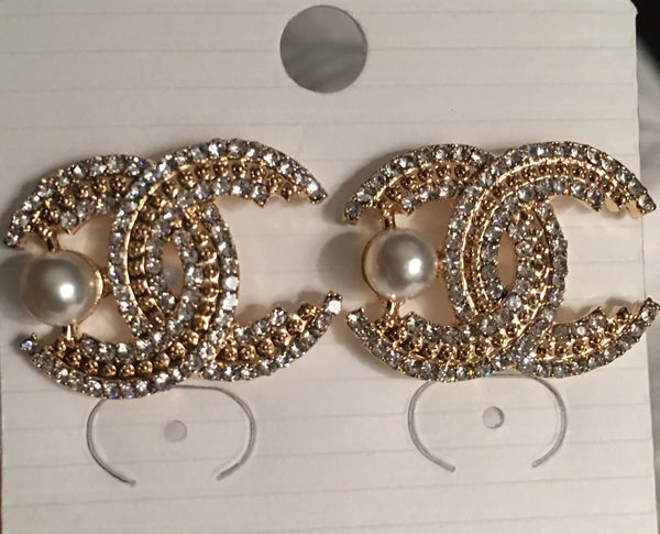CC Diamond Pearl Accent Earrings