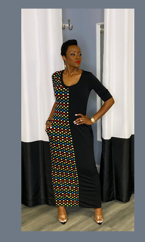 Sofie Polkadot Colorblock Maxi Dress:FINAL SALE