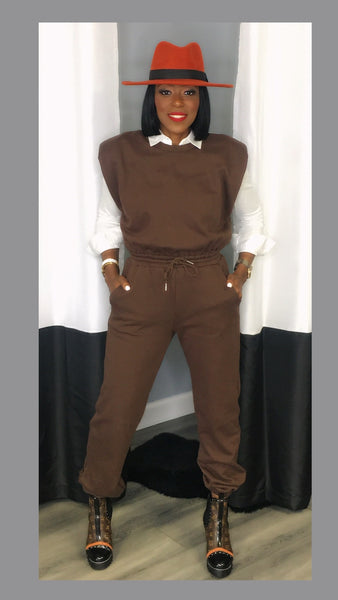 Jax Jogger Espresso Jumpsuit:FINAL SALE
