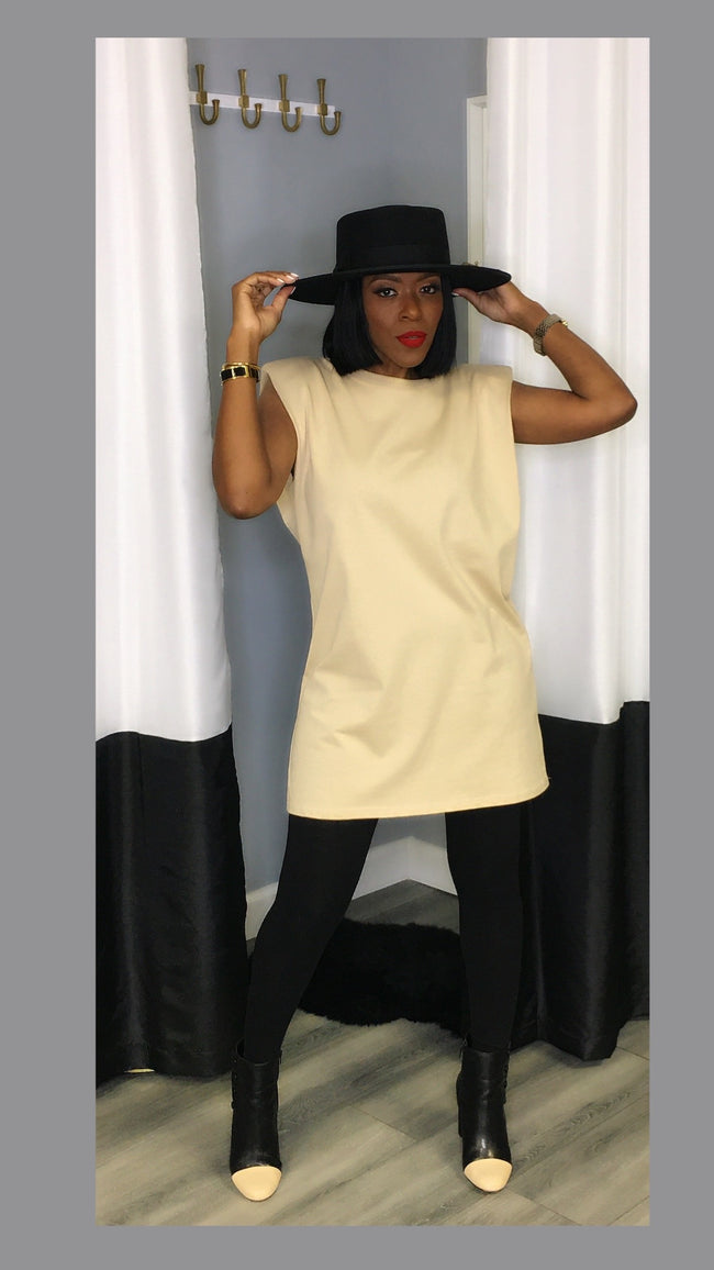 Sevyn Shoulder Pad Tan Tunic Dress:FINAL SALE
