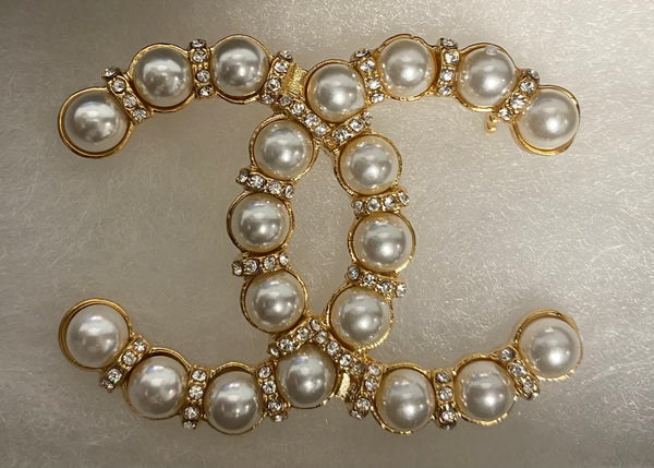 Lenise Pearl & Diamond Double CC Brooch