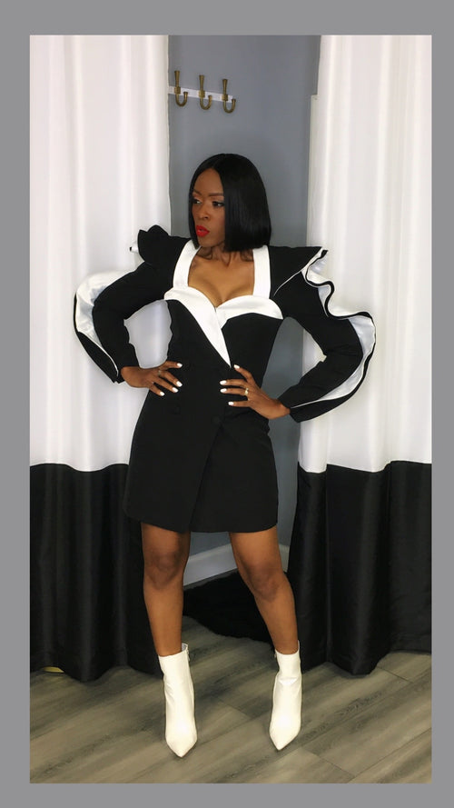 Bristol Black and White Ruffle Blazer Dress:FINAL SALE