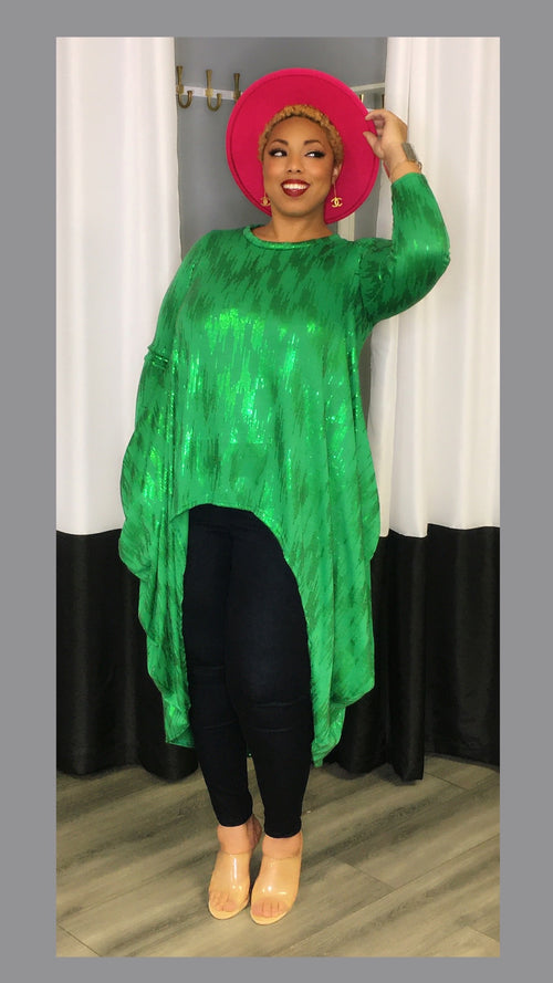 Gail Green Sequin Accent High Low Tunic
