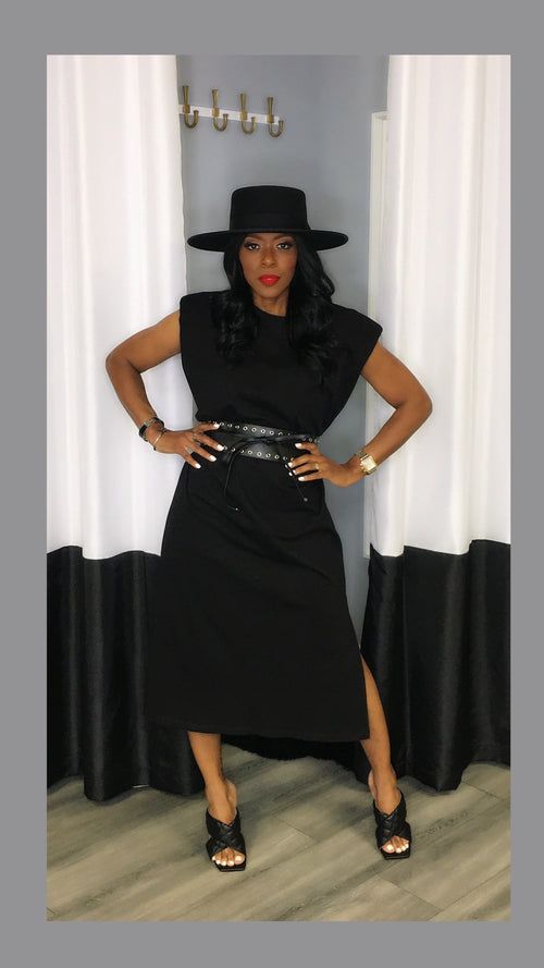 Semi Shoulder Pad Black Midi Dress:FINAL SALE
