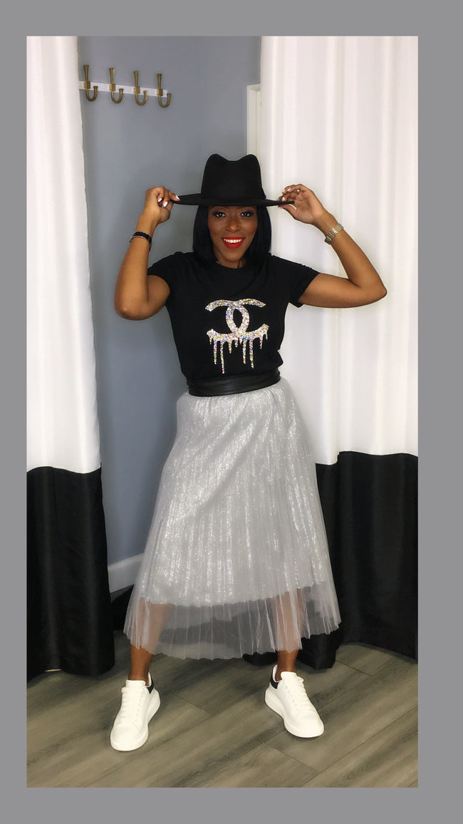 Paula Pleated Silver Skirt