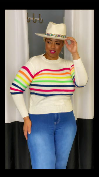 Candy Stripes Sweater Top