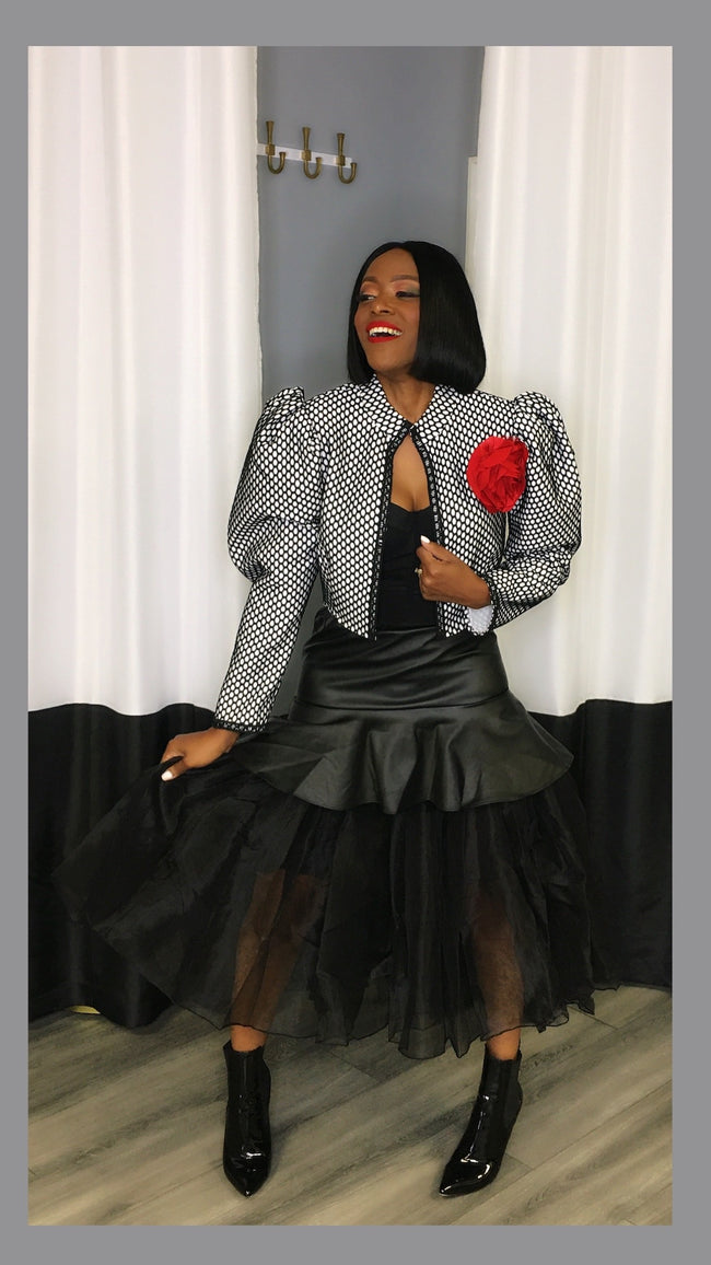 Leather & Tulle Skirt:FINAL SALE