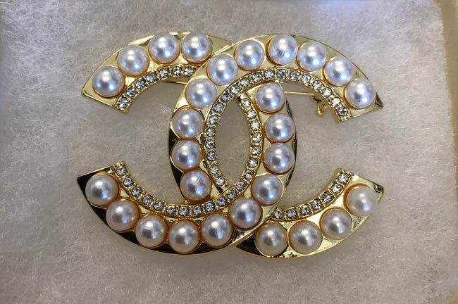 Lola Pearl and Diamond Double CC Brooch