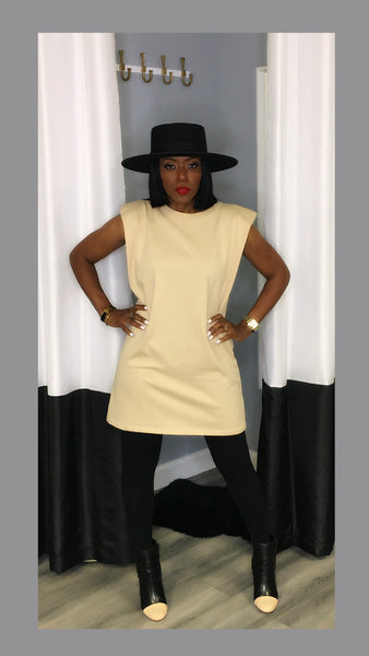 Sevyn Shoulder Pad Tan Tunic Dress