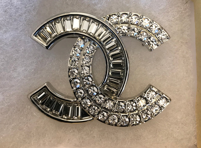 Ingrid Interlock Baguette and Diamond CC Brooch
