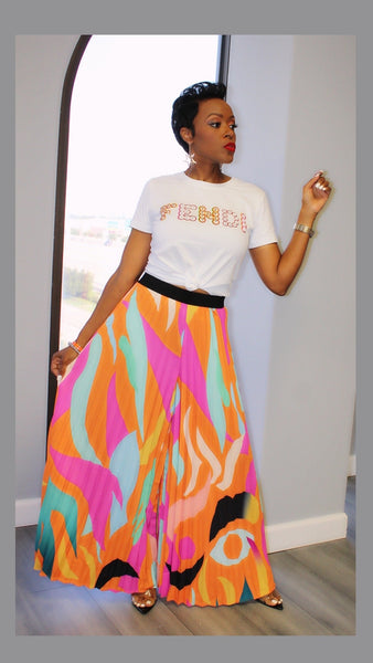 Picasso Pleated Orange Pants:FINAL SALE