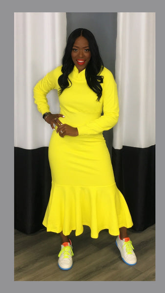 Hoodie Sweater Yellow Midi Dress