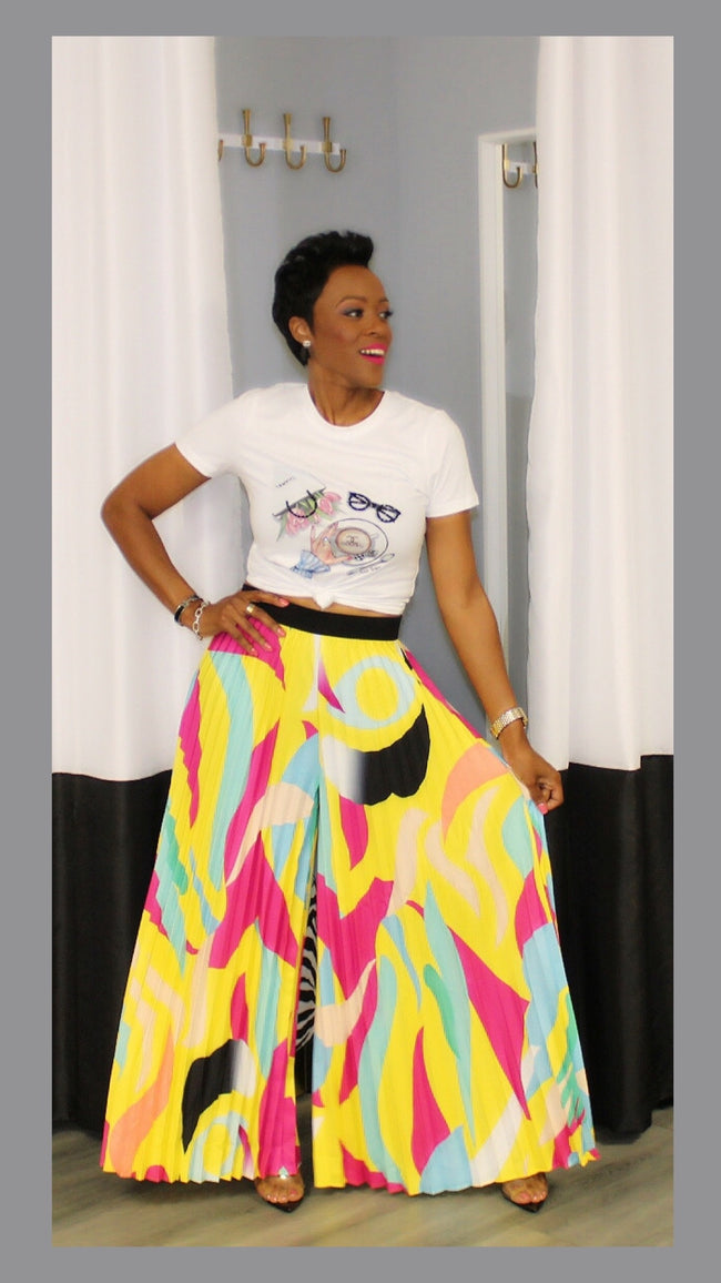 Picasso Pleated Yellow and Pink Pants:FINAL SALE