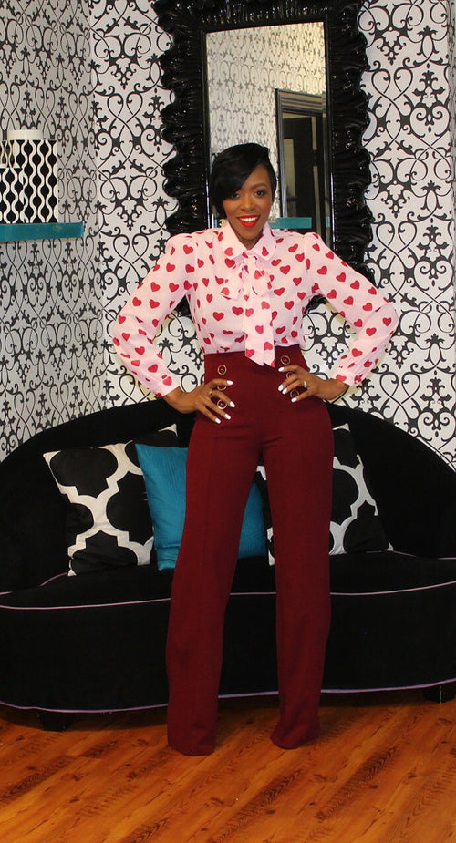 Sailor Highwaist Button Accent Burgundy Pants