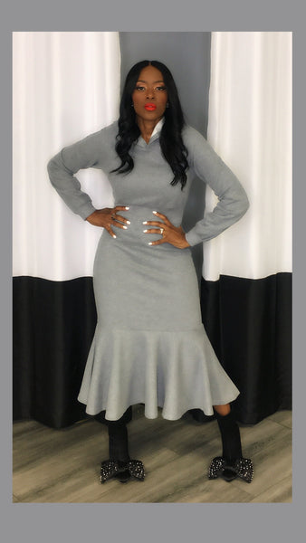 Hoodie Sweater Grey Midi Dress