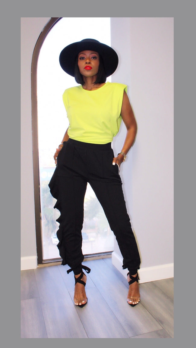 Stacy Shoulder Pad Lime Top
