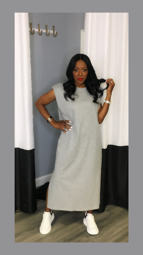 Semi Shoulder Pad Grey Midi Dress:FINAL SALE