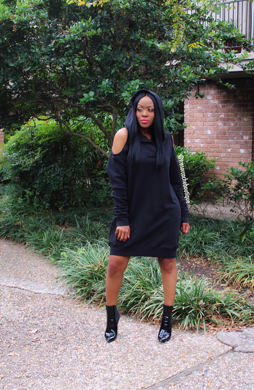 Camdyn Cold Shoulder Hoodie Dress