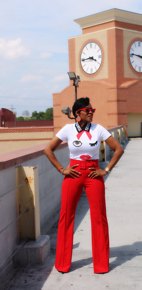 Holly Highwaist Red Belted Pants:FINAL SALE