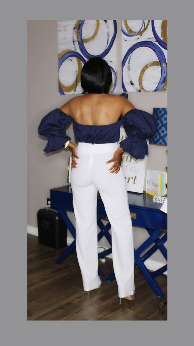 Bethany Cold Shoulder Navy Bow Top