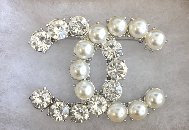 Linda Double CC Pearl and Diamond Brooch