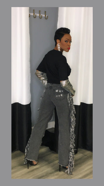 Becca Bling Distressed Black Jean Pants
