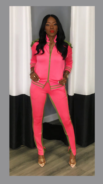 Saxon Striped Cold Shoulder Pink Jogger Set