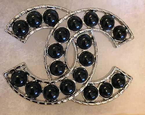 Jada Double CC Black Pearl Brooch