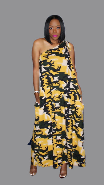 Caitlyn Camouflage One Shoulder Maxi Dress