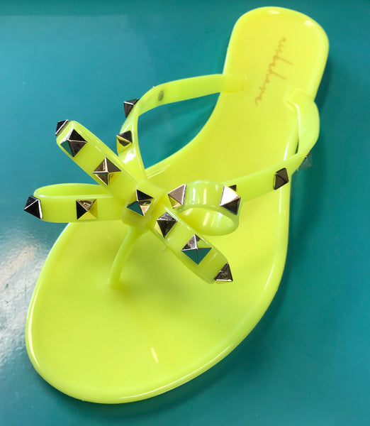 Valerie (Pink, Neon Yellow) Studded Sandal