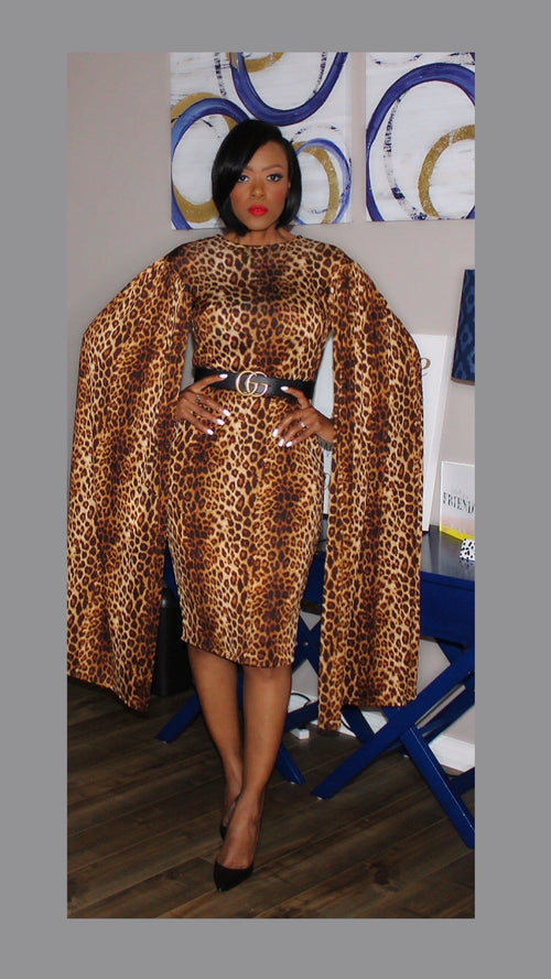 Lexi Leopard Cape Dress