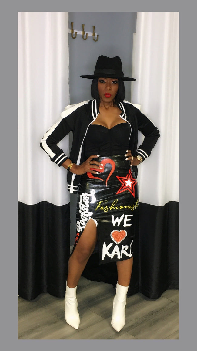 Karl Graffiti Black Skirt