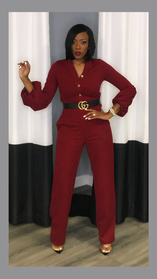 Chasity Gold Button Puff Sleeve Burgundy Jumpsuit