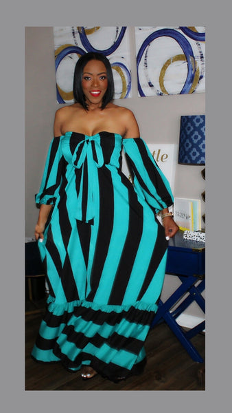 Olivia Off the Shoulder Turquoise Maxi Dress:FINAL SALE