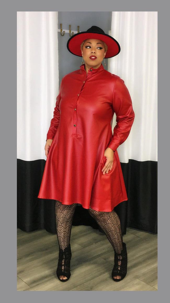 Leah Faux Leather Red Dress