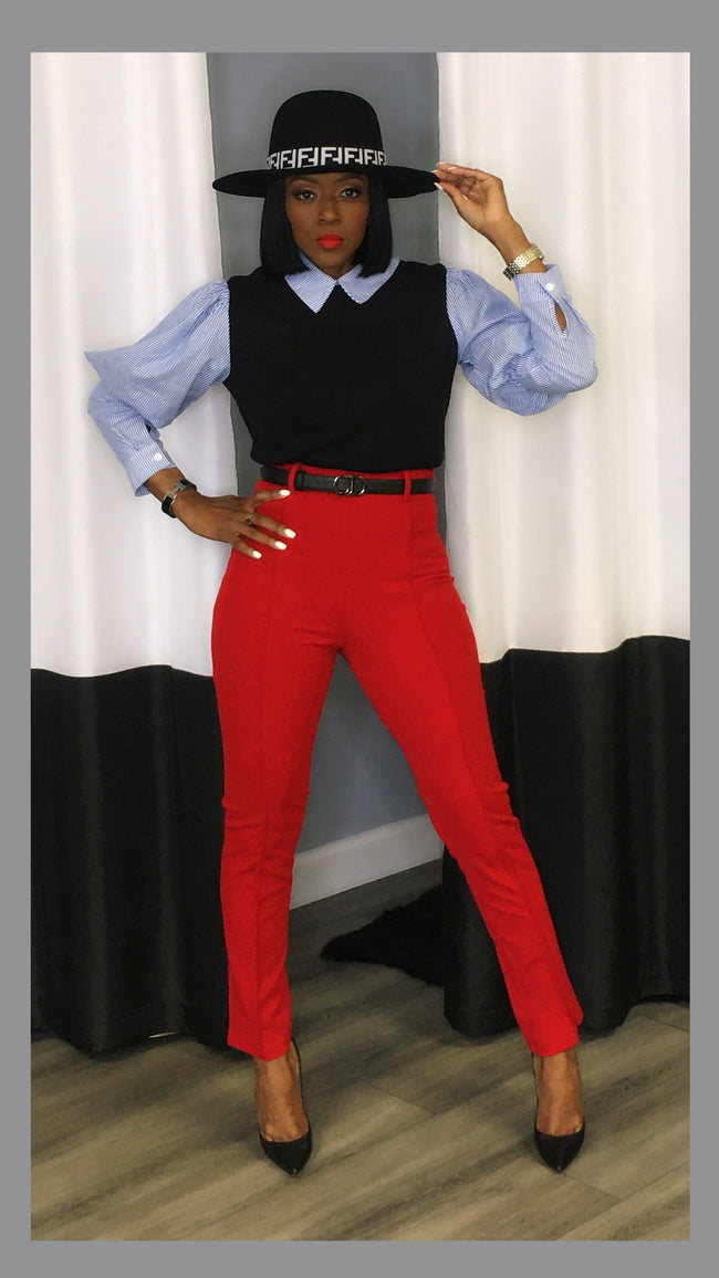 Alex Highwaist Belted RED Ankle Pants
