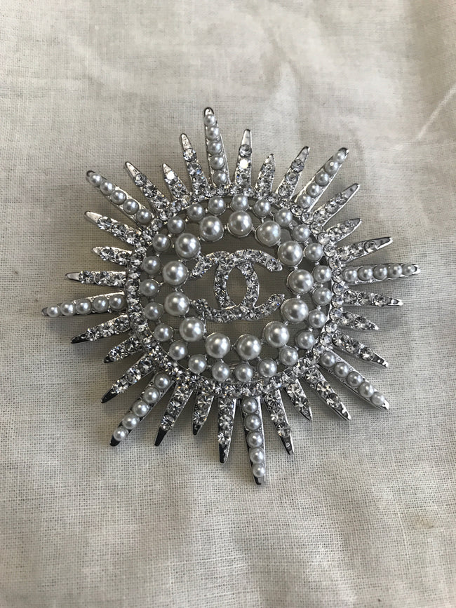 Star Pearl and Diamond Double CC Brooch