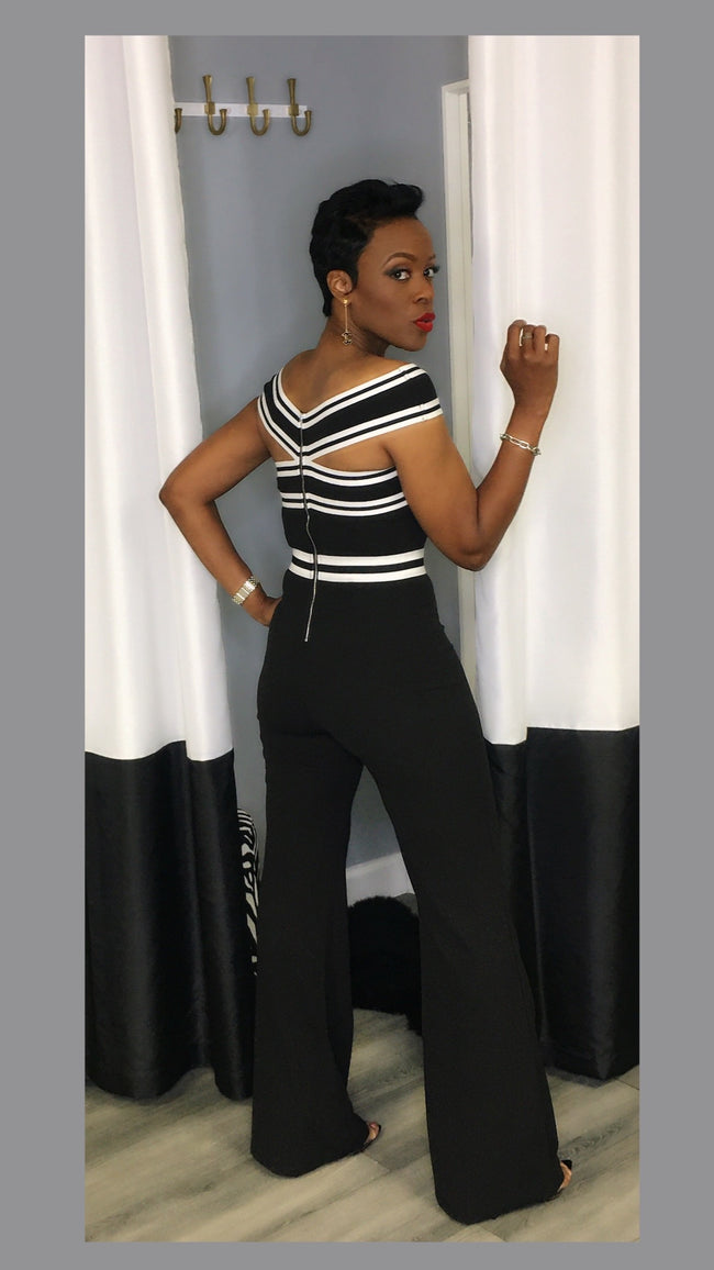 Brittany Black and White Jumpsuit:FINAL SALE