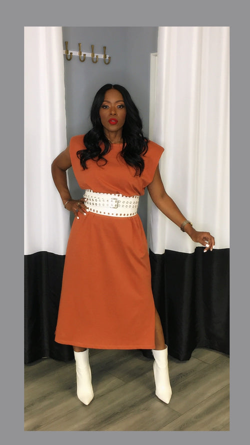 Semi Shoulder Pad Pumpkin Midi Dress:FINAL SALE