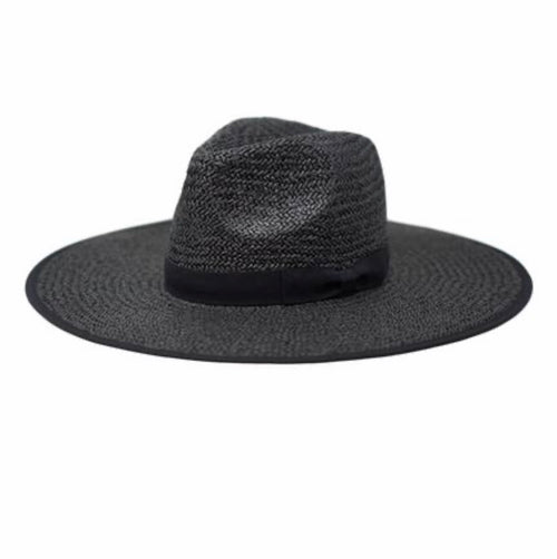 Fefe Straw Oversized Fedora Black Hat