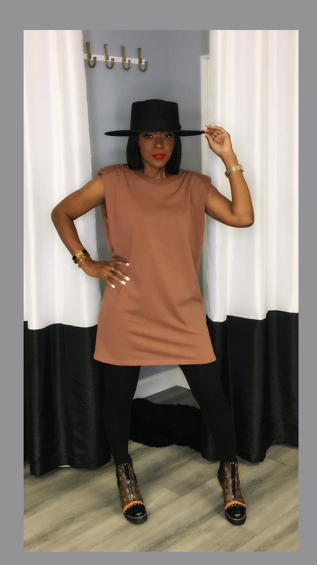 Sevyn Shoulder Pad Coffee Tunic Dress:FINAL SALE