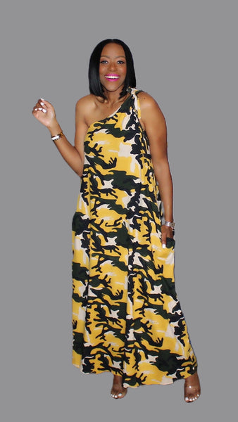 Caitlyn Camouflage One Shoulder Maxi Dress:FINAL SALE