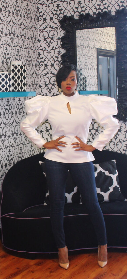 Whitley Puff Sleeve White Top