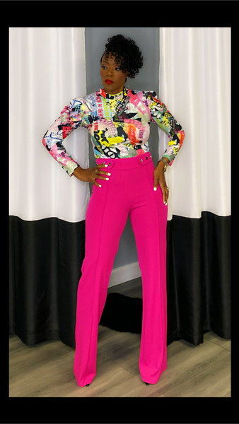 Fiori Fuchsia Button Accent Pants