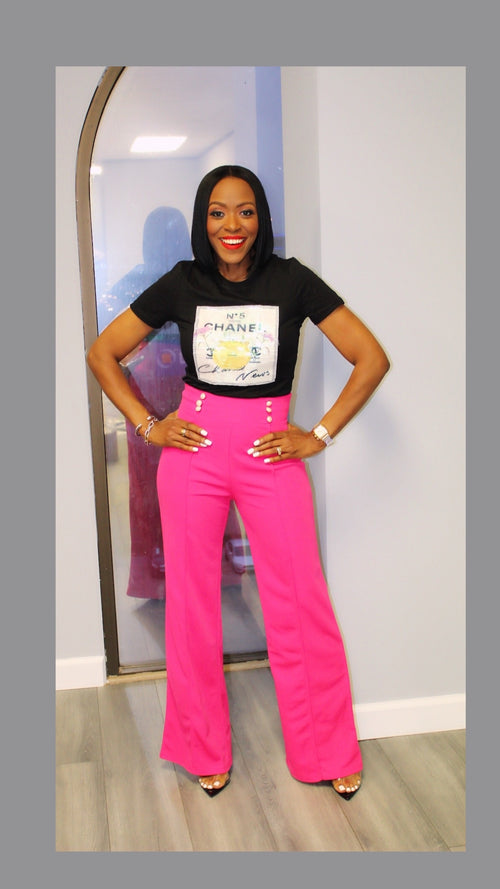 Sailor Highwaist Button Accent Fuchsia Pants