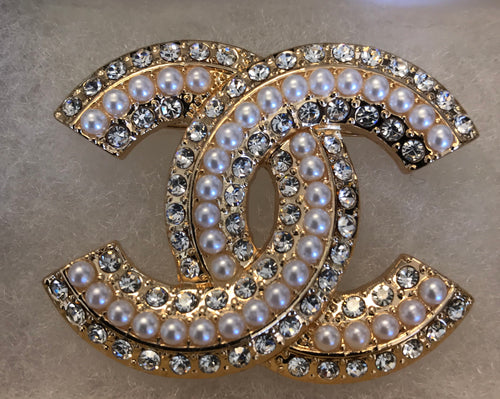 Tyra Triple Layer Pearl and Diamond CC Brooch