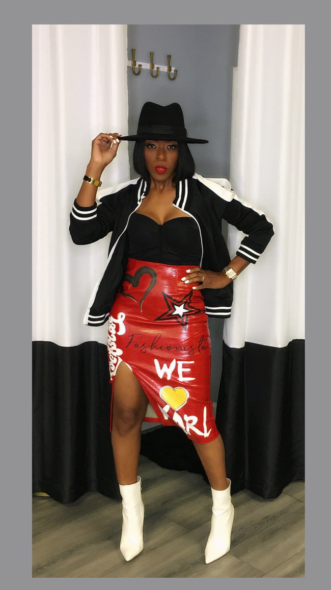 Karl Graffiti Red Skirt