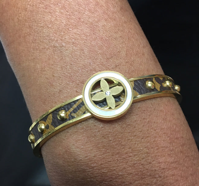 LV Flower Monogram Studded Bangle
