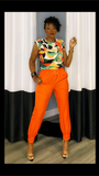 Stacy Print Orange Shoulder Pad Top